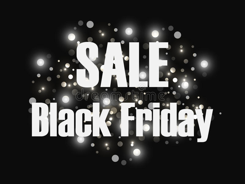Black friday sale background. Sales and discount. Black background with flashes of bright lights. Vector royalty free illustration