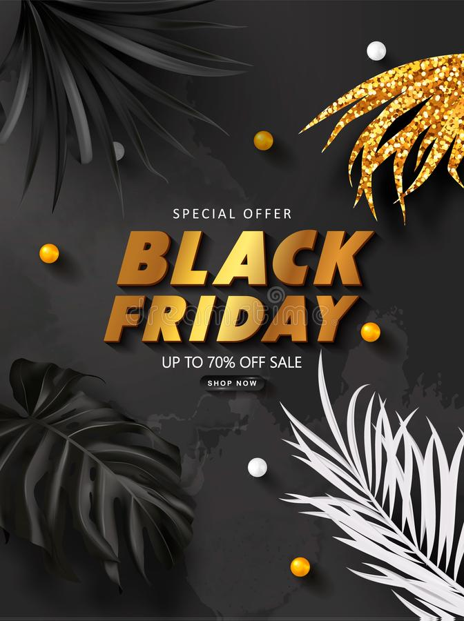 Black friday sale background with tropical leaves. Modern luxury design.Universal vector background for poster, banners vector illustration
