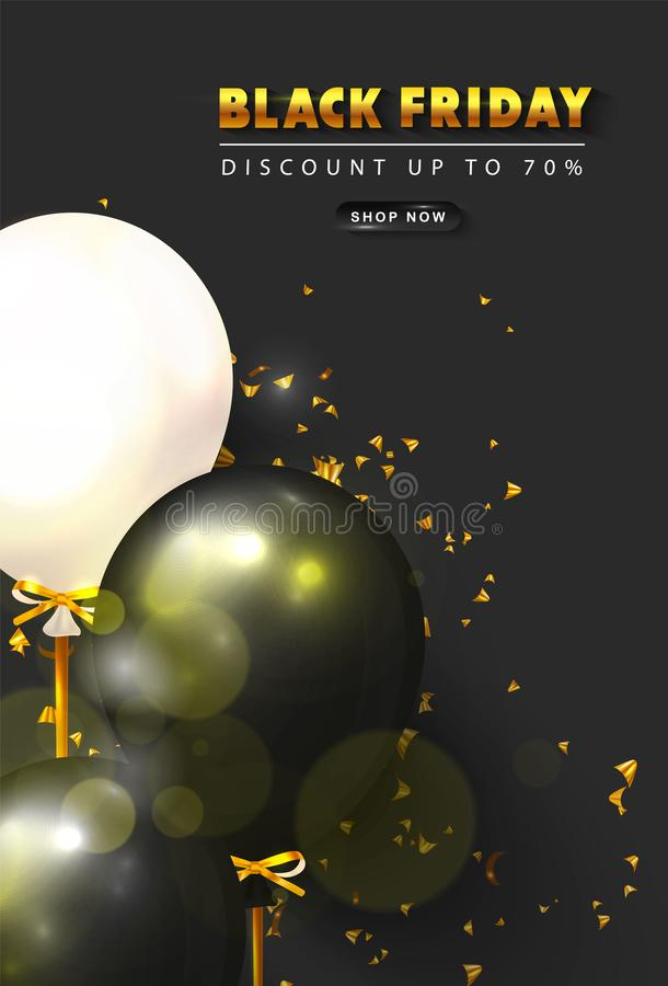 Black friday sale background with black and white balloons and golden serpentine. Modern design.Universal vector stock illustration