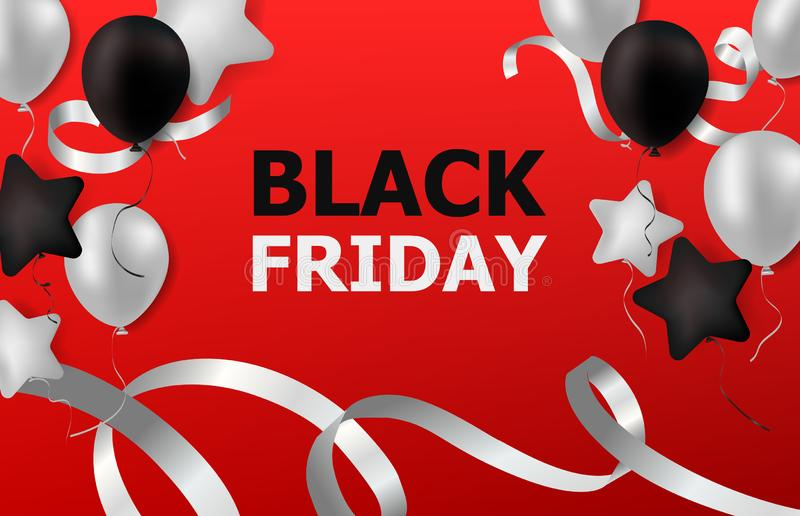 Black Friday Sale with balloons and ribbon on red stock image