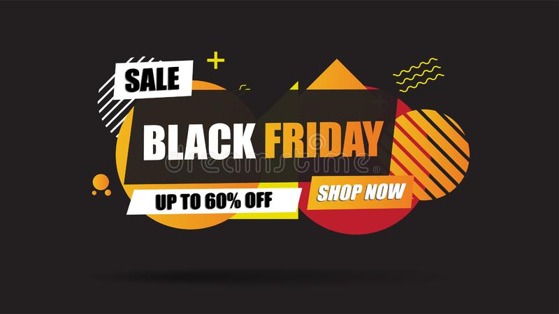 Black Friday Sale banner abstract layout on black background with discount 60% off.Template design for list, page, mockup brochure royalty free stock image