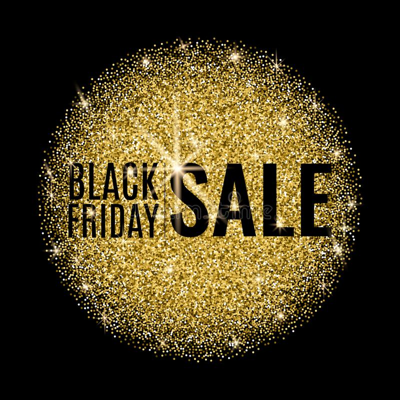 Black friday sale banner. Black Friday Sale Poster with gold round shape on Dark Background. Shop now. vector illustration