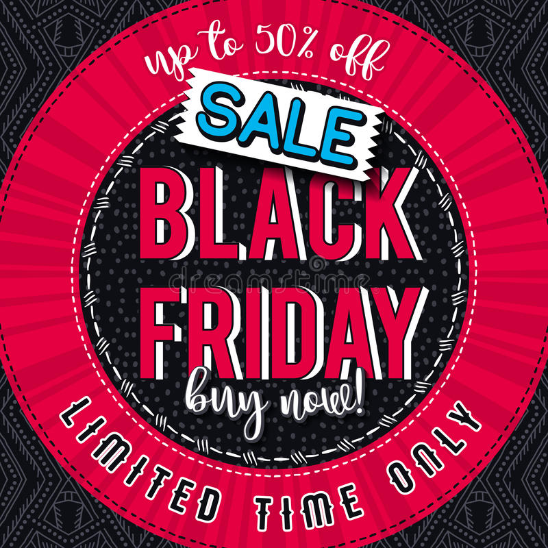 Black friday sale banner on color patterned background, vector stock images