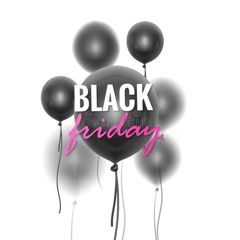 Black Friday Sale Banner decorated 3D glossy balloons with blur effect on White Background. Vector illustration royalty free illustration