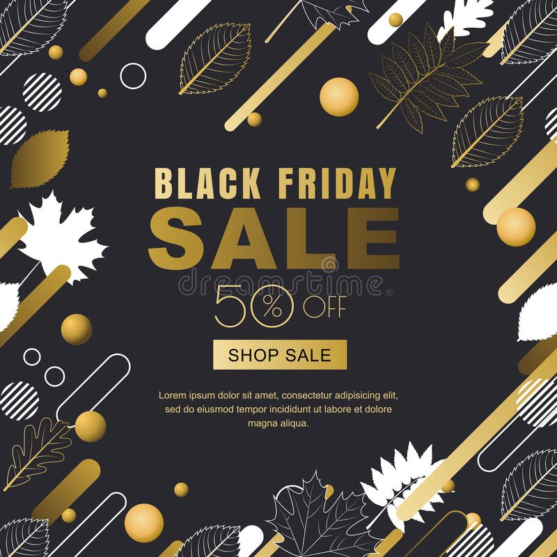Black friday sale banner. Gold outline fall leaves and motion geometric shapes. Vector autumn poster background. stock illustration
