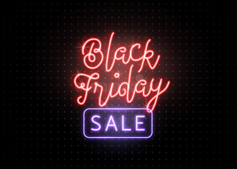 Black friday sale banner. Luminous light red and blue type lettering text sign stock illustration
