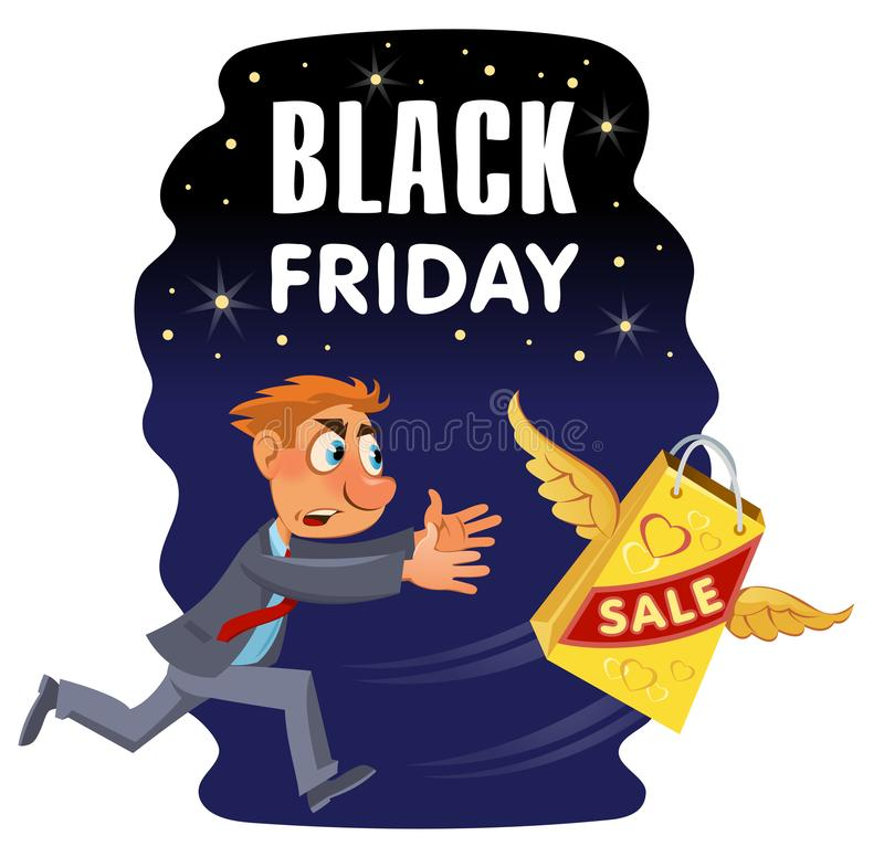 Black friday sale banner. Man trying to catch shopping bag. Cartoon styled vector illustration. Elements is grouped royalty free illustration