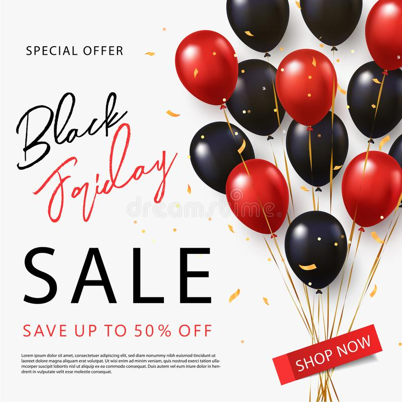 Black Friday Sale banner, poster or flyer design with black and red helium balloons on white background. vector illustration
