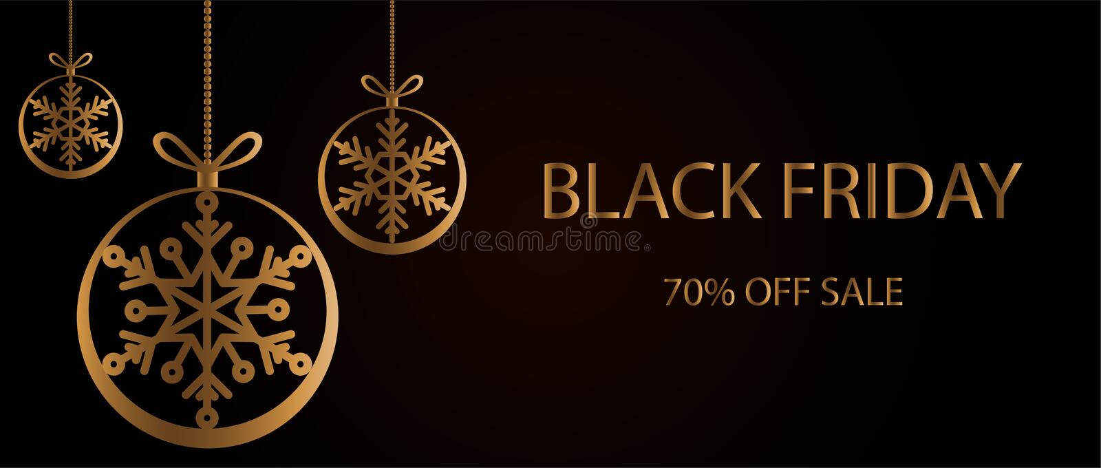 Black friday sale banner, poster with golden round christmas ball and text on dark background royalty free stock images
