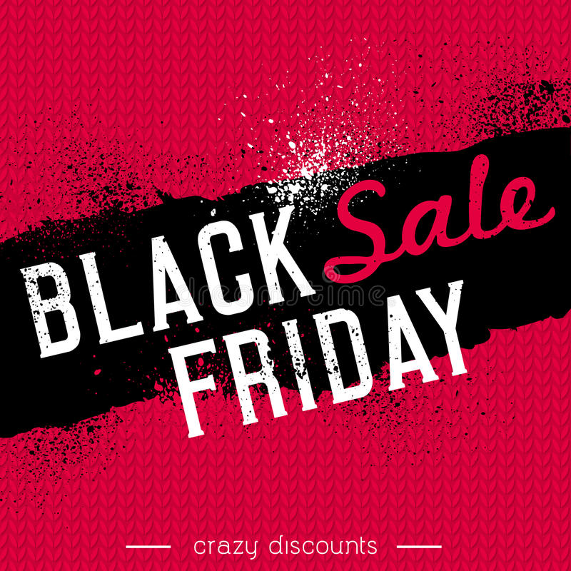 Black friday sale banner on red knitwear background, vector royalty free illustration