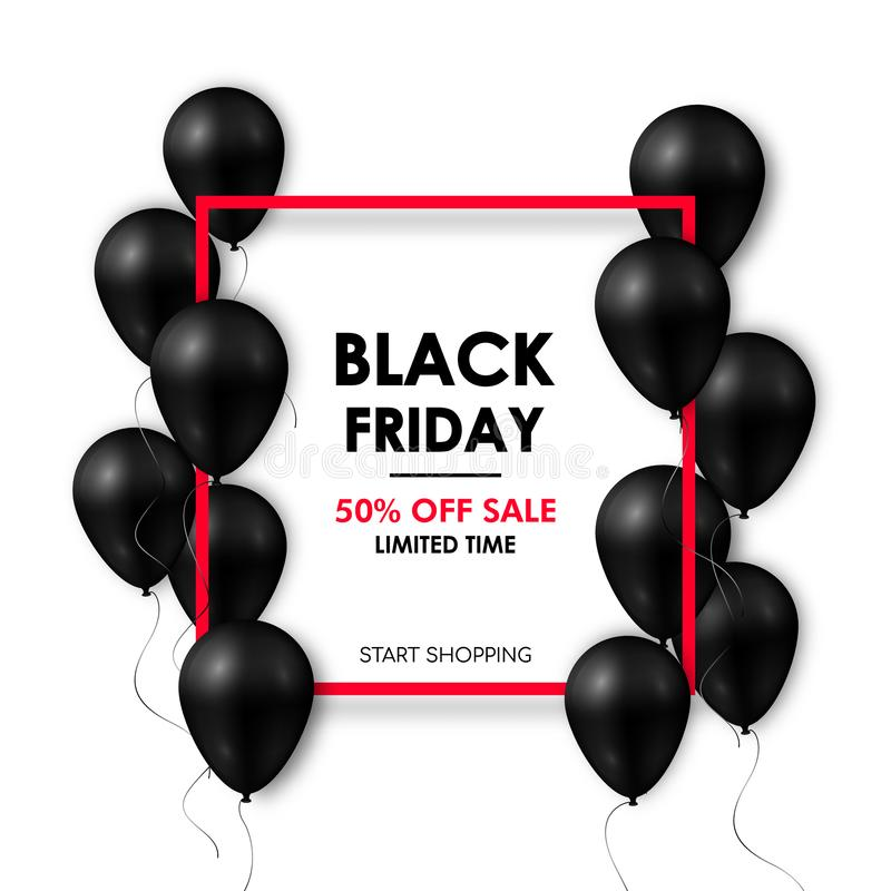 Black friday Sale banner. Shiny black balloons on white background with red frame. royalty free illustration