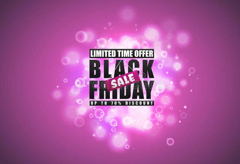 Black Friday sale banner. Black text with tag and glow sparks bokeh effect on pink background. Limited time offer royalty free illustration