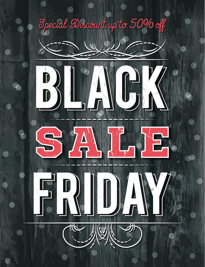 Black friday sale banner on wooden background, vector royalty free stock photo