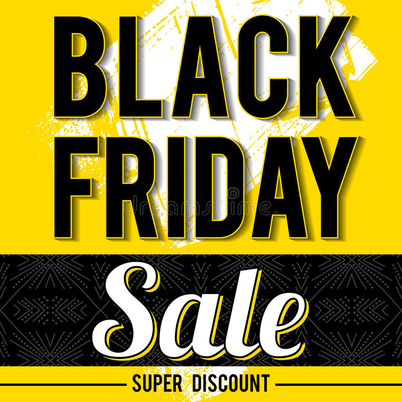 Black friday sale banner on yellow background, vector vector illustration