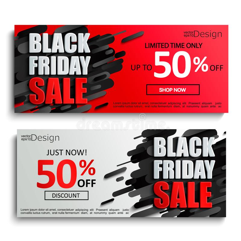 2 black friday sale banners on dynamic background. Two black friday sale banners on dynamic red and grey background. Perfect template for flyers, discount cards stock illustration