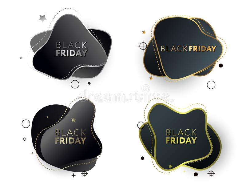 Black friday sale banners. Modern set of abstract stickers. Template ready for use in web or print design.  royalty free illustration