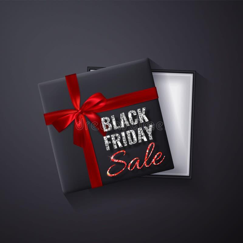 Black Friday Sale blänker gnistrandet Öppen svart gåvaask med röd bästa sikt för pilbåge och för band också vektor för coreldrawi stock illustrationer