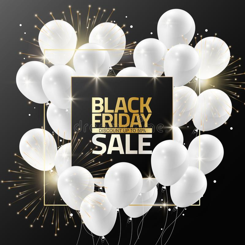 Black Friday sale on black frame with white balloons and firework for design template banner, Vector illustration stock illustration