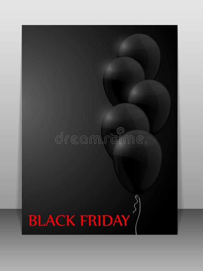 Black Friday sale card with balloons. Black Friday sale card with black balloons on black background. Vector illustration royalty free illustration