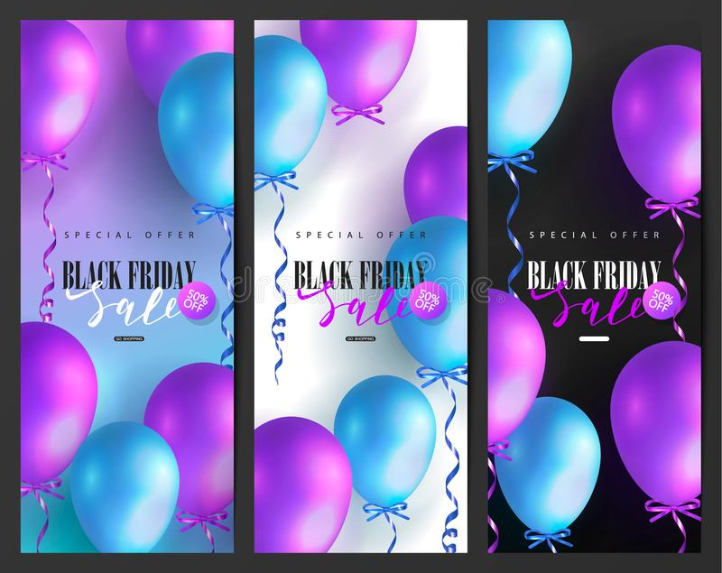 Black Friday Sale cards collection with colored balloons. Modern design.Universal vector background for poster, banners, flyers, c stock illustration