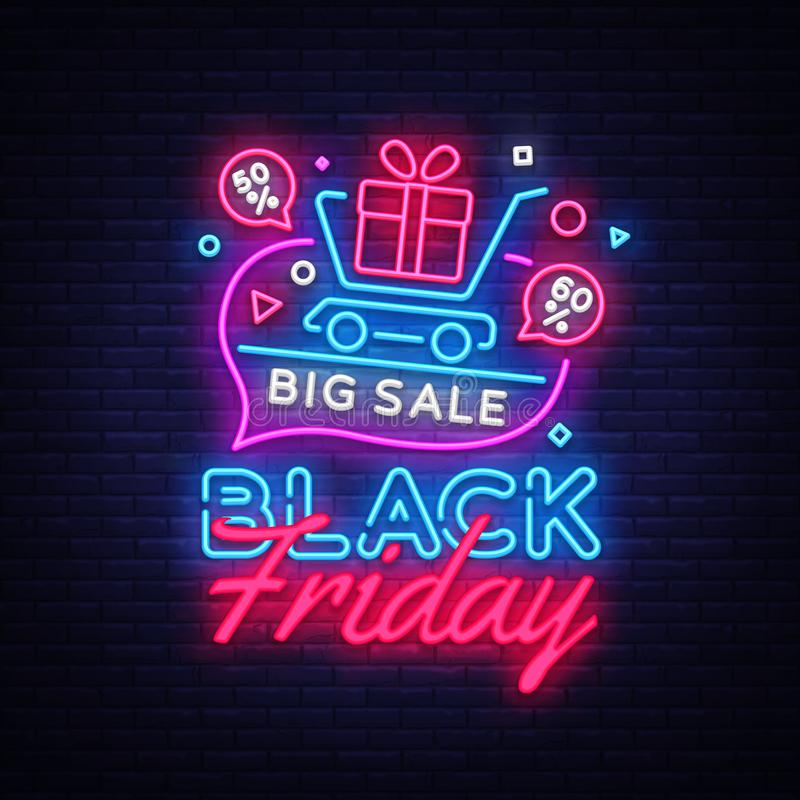 Free Black Friday Sale Concept Banner In Fashionable Neon Style, Luminous Signboard. Nightly Advertising Of Sales Rebates Of Royalty Free Stock Image - 127511256