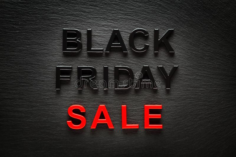 Black Friday Sale on dark slate background. Black Friday Sale in black and red on dark slate background vector illustration