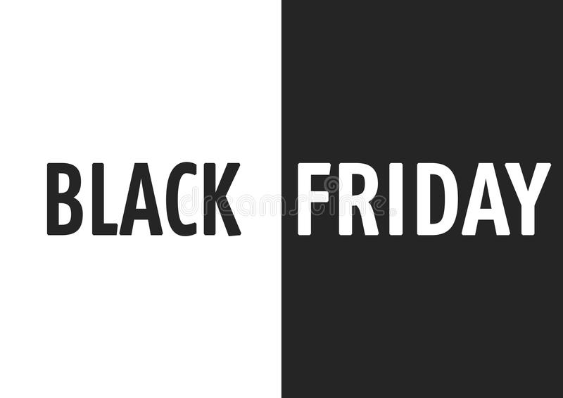 Black Friday sale day illustrative visual. Words black and friday on black and white background stock illustration