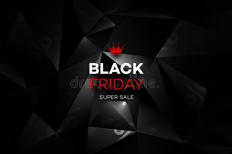 Black Friday Sale Decoration With An Abstract Polygonal Background. stock illustration