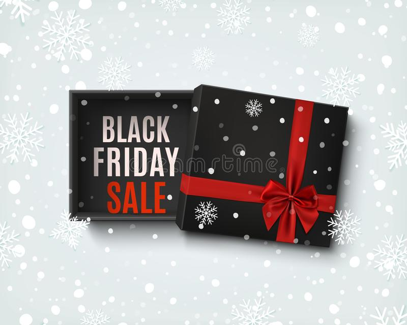 Black Friday sale design. Opened black gift box with red bow. royalty free illustration