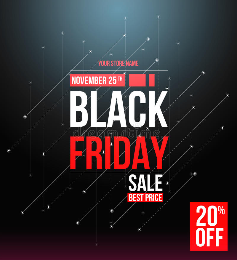 Black friday sale design template. stock illustration