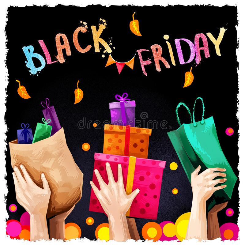 Black friday sale digital art illustration. November 25 annual shopping tradition. Famous holiday shopping day commercial banner. royalty free illustration