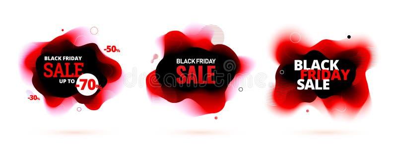 Black friday sale discount banner with organic flow shape. Vector illustration.  vector illustration