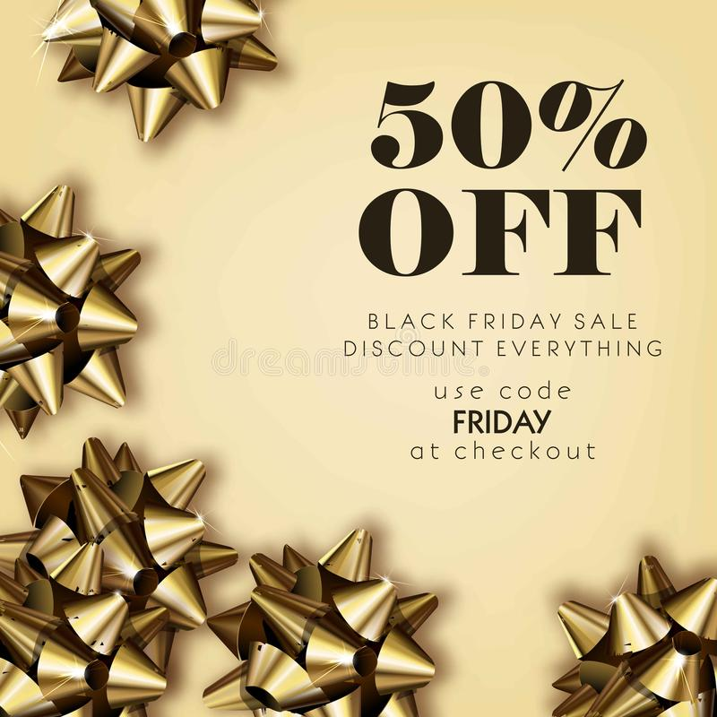 Black Friday sale discount for everything promo offer poster or. Advertising flyer and coupon. Vector 50 percent off design of gold gift bows on sparkling vector illustration