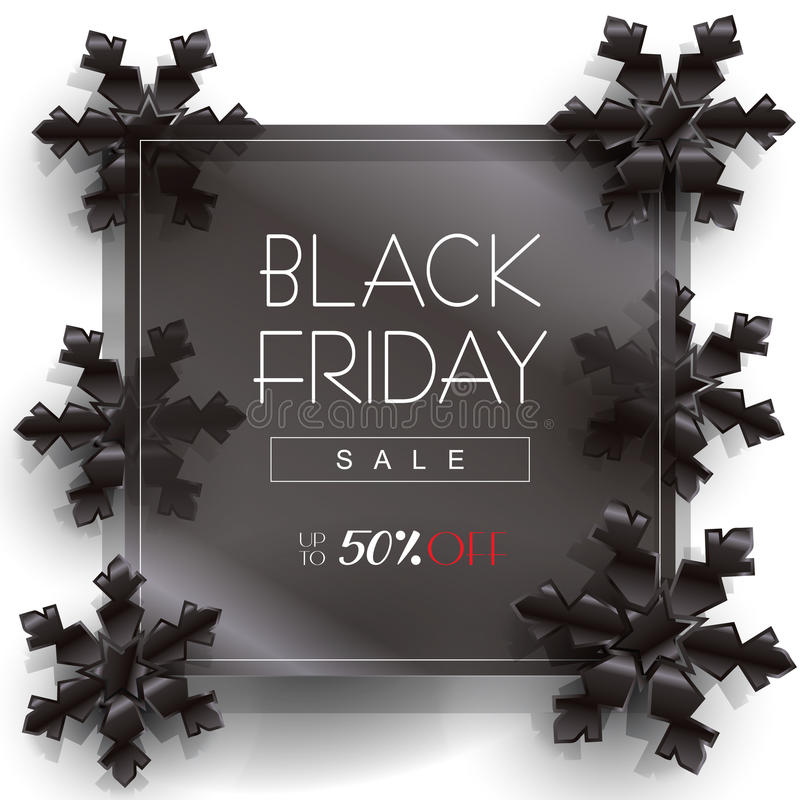 Black friday. Sale Discount poster design, template. Vector.  Sale discount wallpaper with Black snowflakes on black glass background. Holiday Sale Advertising royalty free illustration