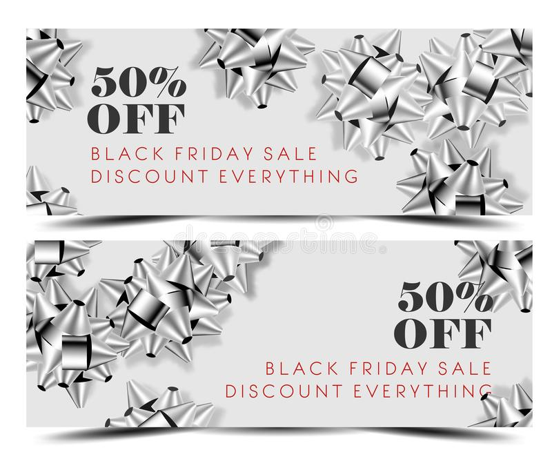 Black Friday sale discount promo offer banner or shop 50 percent price off advertising flyer and coupon. Vector design of silver gift bows on sparkling glitter royalty free illustration