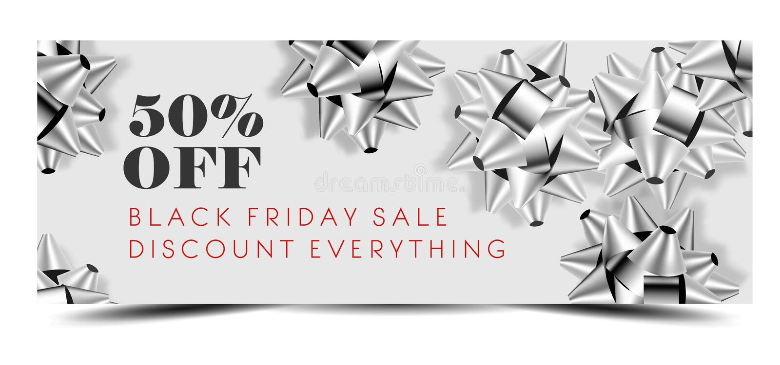 Black Friday sale discount promo offer banner or shop 50 percent price off advertising flyer and coupon. Vector design of silver gift bows on sparkling glitter vector illustration