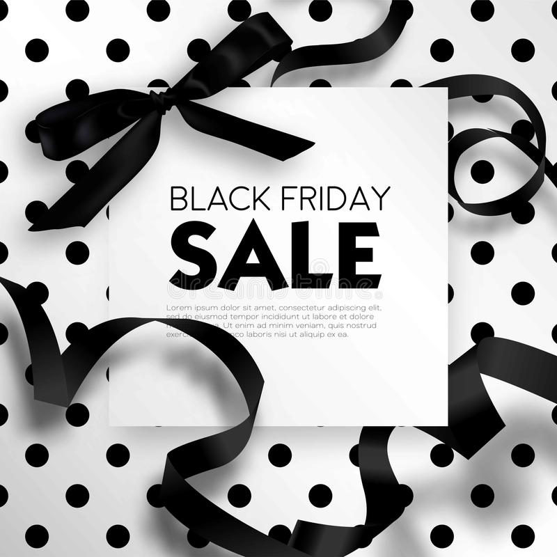 Black Friday sale discount promo offer poster or advertising flyer and coupon. Vector elegant design of piece of paper and realistic black gift bow tie ribbon royalty free illustration