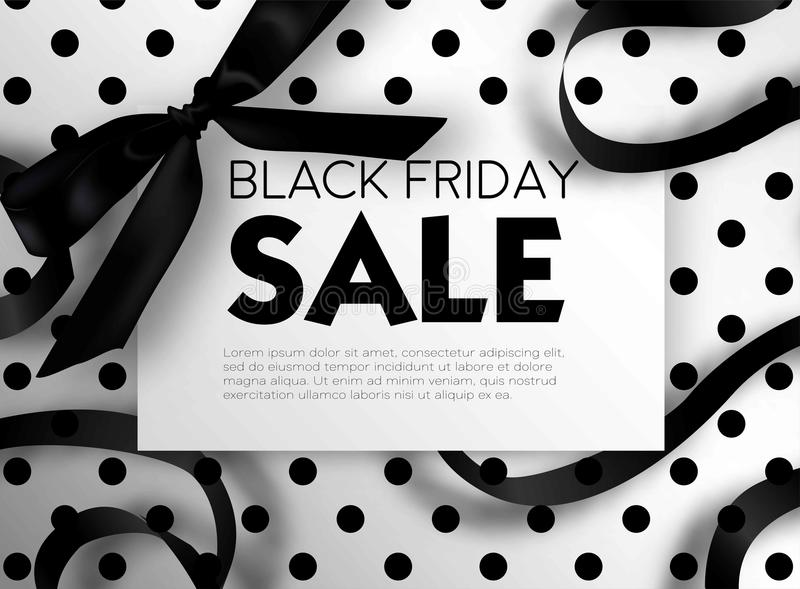 Black Friday sale discount promo offer poster or advertising flyer and coupon. Vector elegant design of piece of paper and realistic black gift bow tie ribbon vector illustration