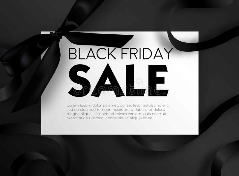Black Friday sale discount promo offer poster or advertising flyer and coupon. Vector elegant design of piece of paper and realistic black gift bow tie ribbon stock illustration