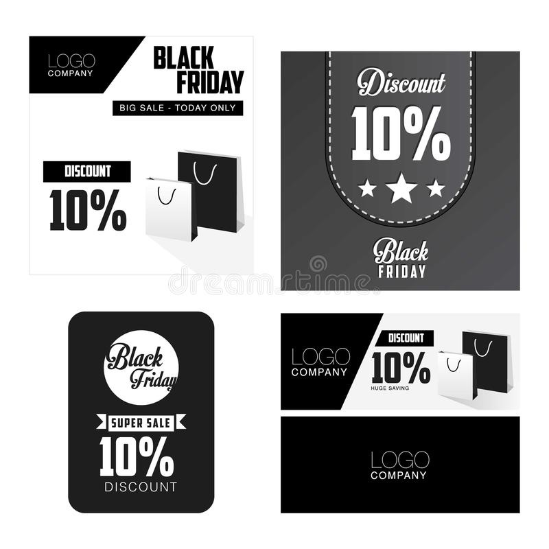 Black Friday Sale, discount and voucher template stock illustration