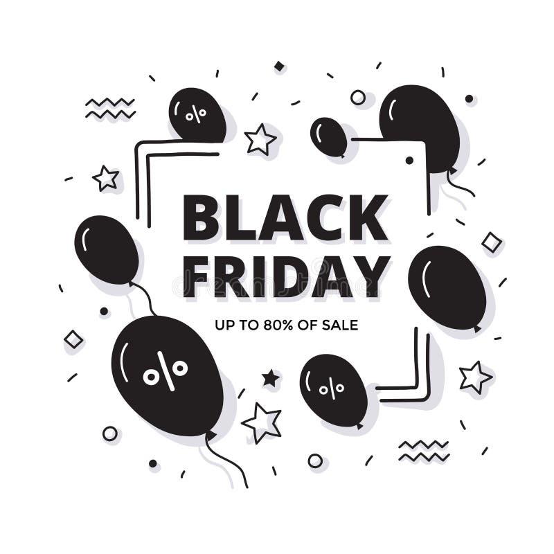Black Friday Sale Doodle Banner stock image