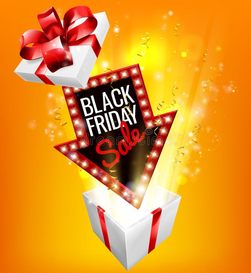 Black Friday Sale Exciting Gift Sign. An exciting Black Friday Sale arrow sign exploding out of a gift box with a red ribbon bow design royalty free illustration