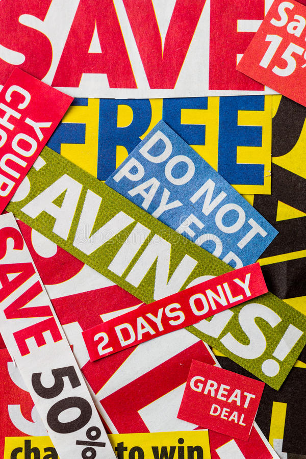 Black Friday sale. Flyer clippings stock photography