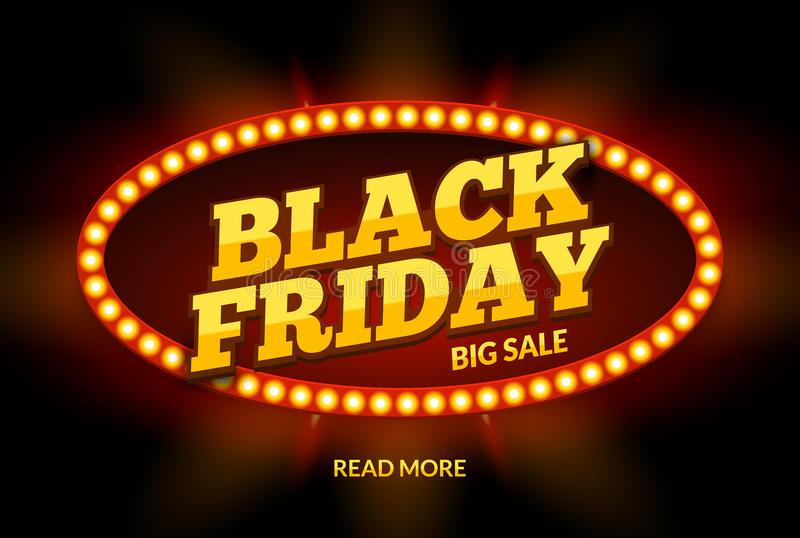 Black Friday SALE frame design template. Black friday discount retro banner with neon sign light frame. Vector stock illustration