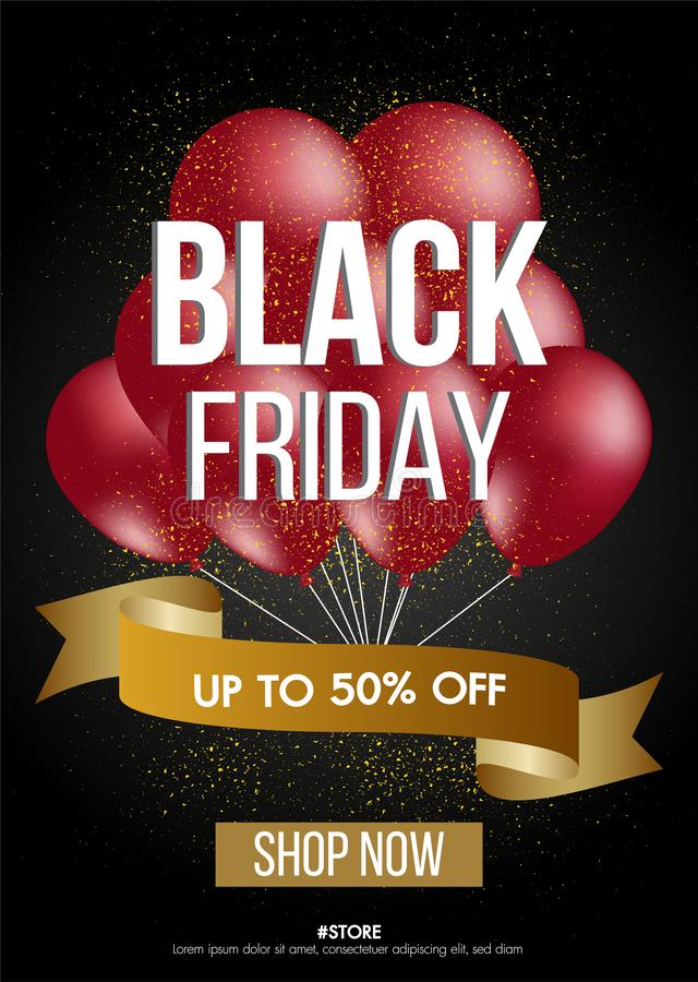 Black Friday sale gold background with balloons sale promo banner.Modern design layout template.Shopping day sale offer poster. stock images