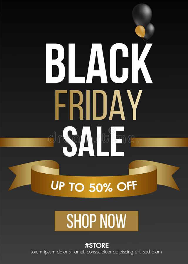 Black Friday sale gold background with balloons sale promo banner.Modern design layout template.Shopping day sale offer poster. stock photos
