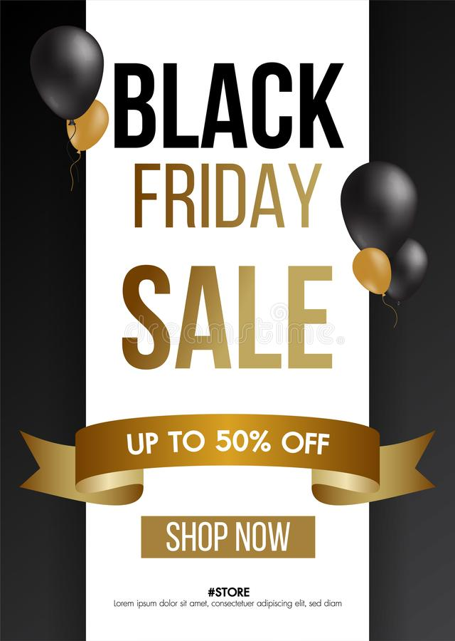 Black Friday sale gold background with balloons sale promo banner.Modern design layout template.Shopping day sale offer poster. stock photo