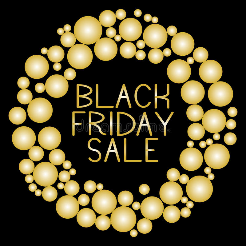 Black Friday Sale. Gold glitter round banner with gold text. stock illustration