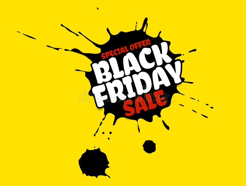 Black Friday Sale grunge poster. Red special offer text banner with grunge black ink drops on bright yellow background vector illustration