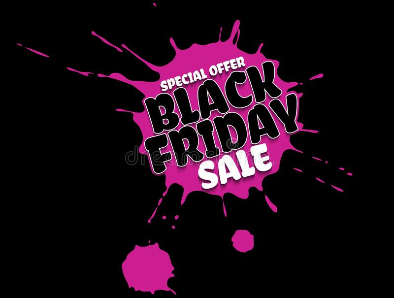 Black Friday Sale grunge poster. White special offer text banner with grunge pink ink drops isolated on black background. Vector royalty free illustration